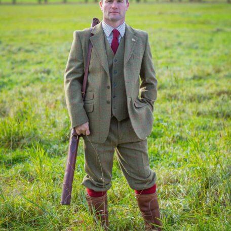 Alan Paine Combrook Tweed Men's Blazer, Lined Back Waistcoat & Breeks in Sage (1)