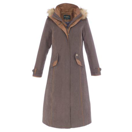 Alan Paine Berwick Ladies Waterproof Long Coat in Brown