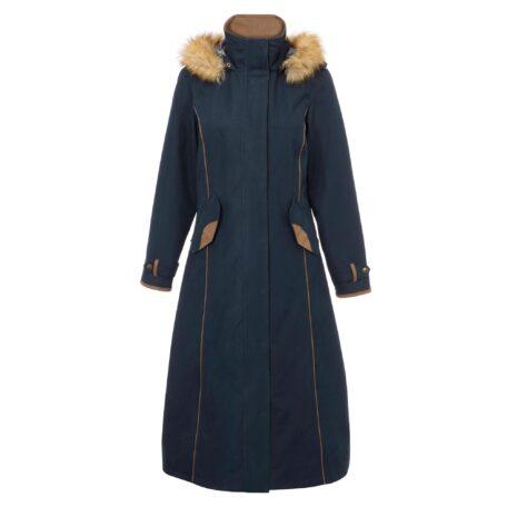 Alan Paine Berwick Ladies Waterproof Long Coat in Dark Navy