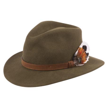 Alan Paine Richmond Unisex Felt Hat in Olive