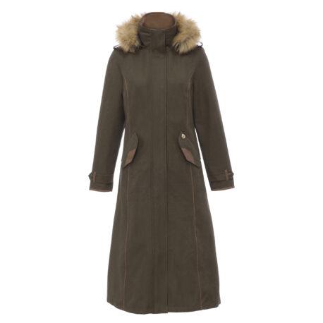 Alan Paine Berwick Ladies Waterproof Long Coat in Olive
