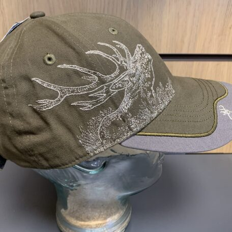 Green with large embroidered buck