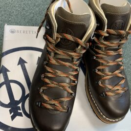 Brown leather lace up boots with Beretta branding