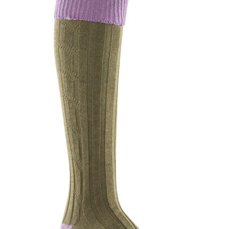 Alan Paine Ladies Socks Lilac & Olive SK29