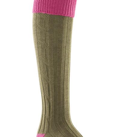 Alan Paine Ladies Socks Pink & Olive SK25