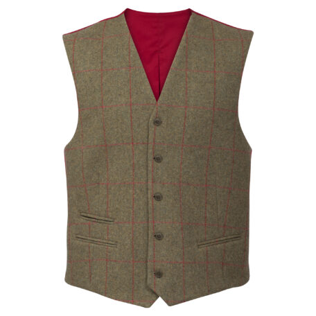 Alan Paine Combrook Men's Lined Back Waistcoat in Sage