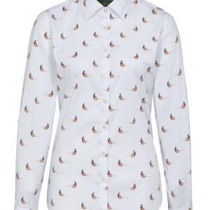 Alan Paine Lawen Ladies Shirt Pheasant on White